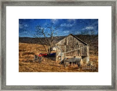 The Red Truck By The Barn Framed Print by Lois Bryan