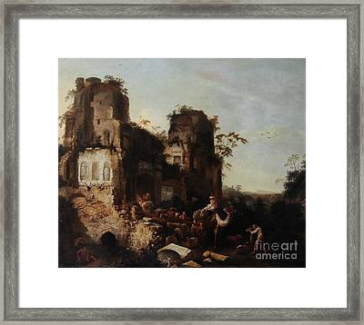 The Return Of The Caravan From A Grand Tour Framed Print by Griffier the Elder