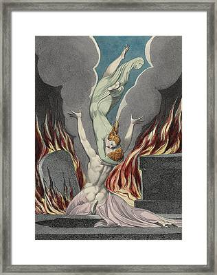 The Reunion Of The Soul And The Body Framed Print by Sir William Blake