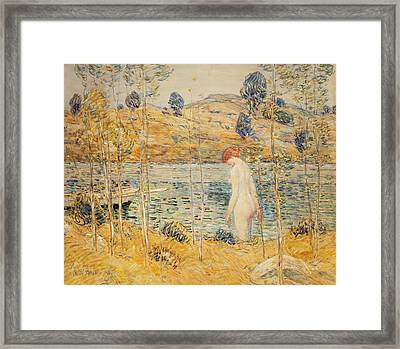 The River Bank Framed Print by Childe Hassam