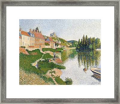 The River Bank Framed Print by Paul Signac