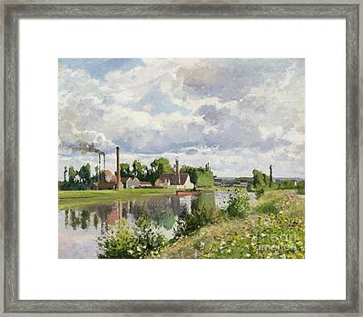 The River Oise Near Pontoise Framed Print by Camille Pissarro