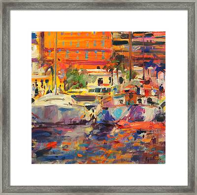 The Riviera At Menton Framed Print by Peter Graham