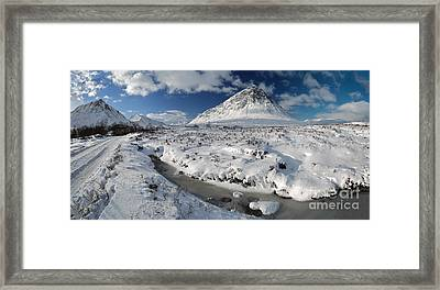 The Road To Glen Etive In Winter - Panorama Framed Print by Maria Gaellman