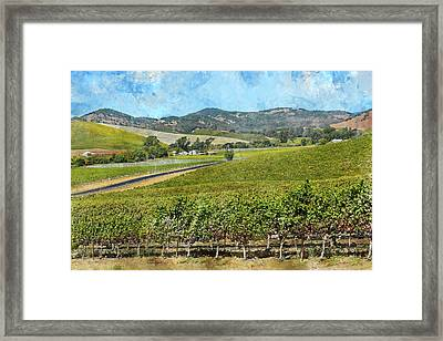 The Road To Napa Valley Vineyard Framed Print by Brandon Bourdages