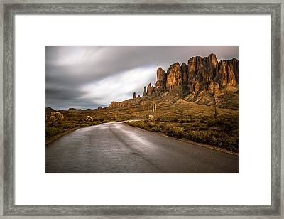 The Road To Superstition Framed Print by Chuck Brown