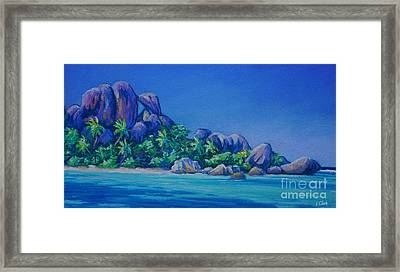 The Rocks On La Digue  Panoramic Framed Print by John Clark