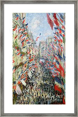 The Rue Montorgueil Framed Print by Claude Monet