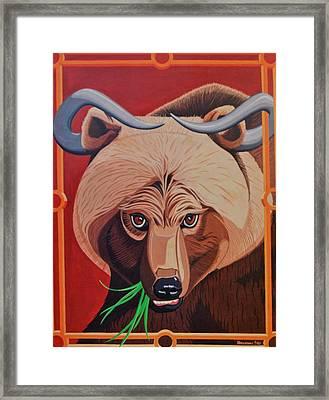 The Russian Bear Gets Bullish On Trade Framed Print by John Houseman