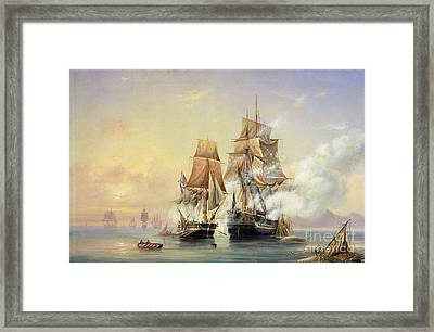 The Russian Cutter Mercury Captures The Swedish Frigate Venus On 21st May 1789 Framed Print by Aleksei Petrovich Bogolyubov