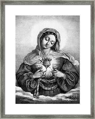 The Sacred Heart Of Mary Framed Print by French School