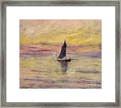 The Sailing Boat Evening Effect Framed Print by Claude Monet