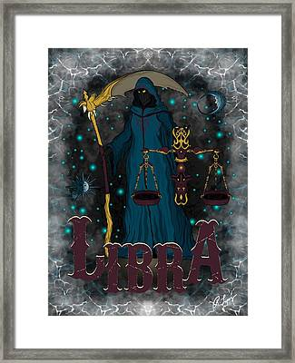 Framed Print featuring the drawing The Scale - Libra Spirit by Raphael Lopez