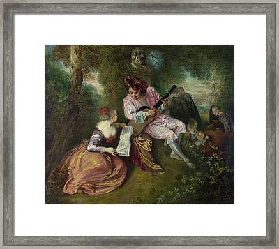 The Scale Of Love Framed Print by Jean-Antoine Watteau