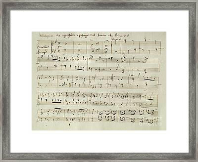 The Score Of Spring Framed Print by Joseph Haydn