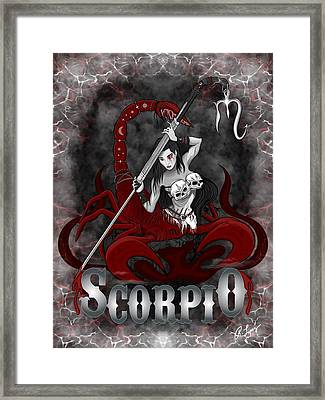 Framed Print featuring the drawing The Scorpion - Scorpio Spirit by Raphael Lopez
