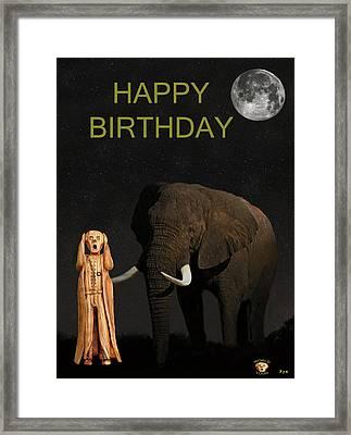 The Scream World Tour African Elephant Happy Birthday Framed Print by Eric Kempson