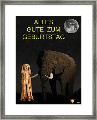 The Scream World Tour African Elephant Happy Birthday German Framed Print by Eric Kempson