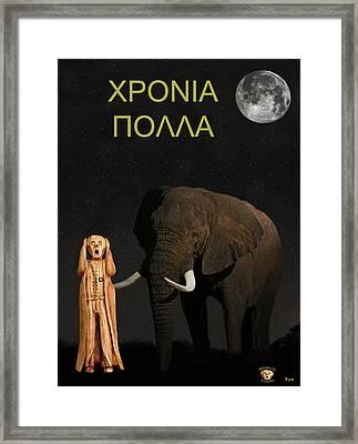 The Scream World Tour African Elephant Happy Birthday Greek Framed Print by Eric Kempson
