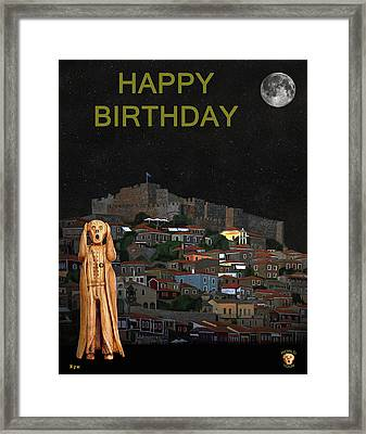 The Scream World Tour Molyvos Lesvos Greece Happy Birthday Framed Print by Eric Kempson