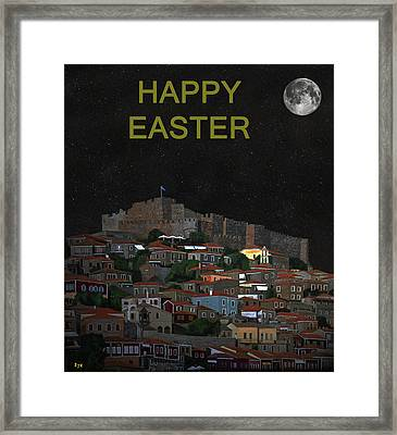 The Scream World Tour Molyvos Moonlight Happy Easter Framed Print by Eric Kempson
