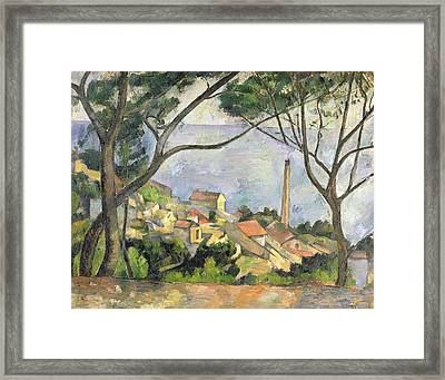 The Sea At L Estaque Framed Print by Paul Cezanne