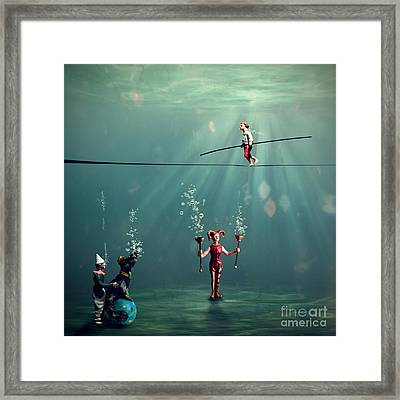 The Secret Venetian Circus Framed Print by Martine Roch