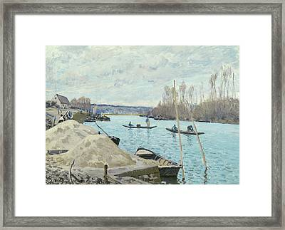 The Seine At Port Marly, Piles Of Sand Framed Print by Alfred Sisley