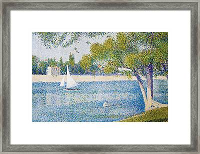 The Seine At The Grand Jatte, Spring Framed Print by Georges Seurat