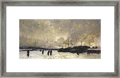 The Seine In December Framed Print by Luigi Loir