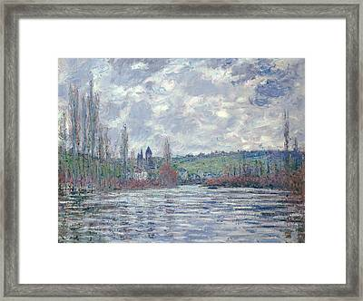 The Seine In Flood At Vetheuil Framed Print by Claude Monet