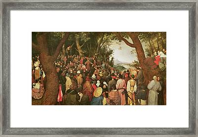 The Sermon Of Saint John The Baptist Framed Print by Pieter the elder Bruegel