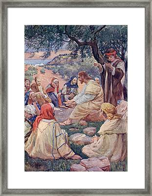 The Sermon On The Mount. From A Book Of Framed Print by Vintage Design Pics