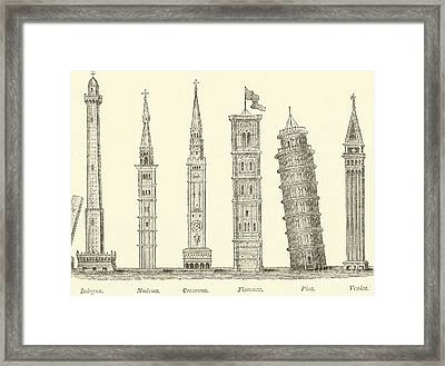 The Seven Great Towers Framed Print by English School