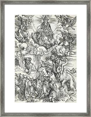 The Seven-headed Beast And The Beast With Lamb's Horns Framed Print by Albrecht Durer