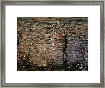 The Shack And Tree Framed Print by Mary Chris Hines