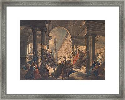 The Shadows Of The Great Florentine Men Protesting Against The Foreign Rule Framed Print by Eugenio Agneni