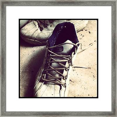 The Shoes He Left Behind Framed Print by Dana Coplin