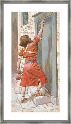 The Signs On The Door Framed Print by James Tissot