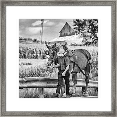 The Simple Life - Paint Bw Framed Print by Steve Harrington