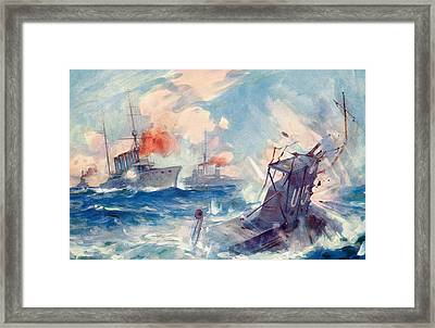 The Sinking Of A German U Boat After Being Rammed By The British Cruiser  Framed Print by English School