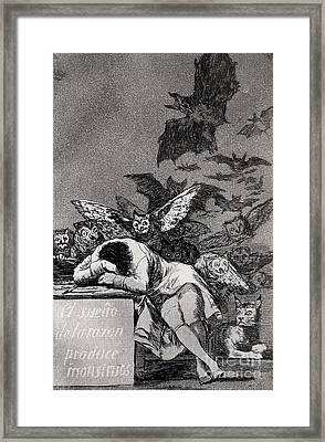 The Sleep Of Reason Produces Monsters Framed Print by Goya