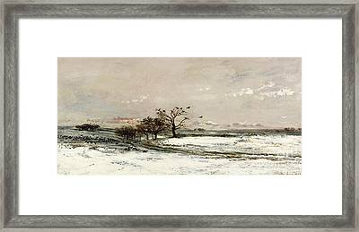 The Snow Framed Print by Charles Francois Daubigny