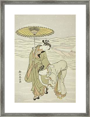 The Snow Clogged Geta Framed Print by Suzuki Harunobu