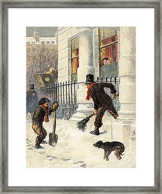 The Snow Sweepers Framed Print by English School