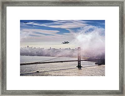 The Space Shuttle Endeavour Over Golden Gate Bridge 2012 Framed Print by David Yu