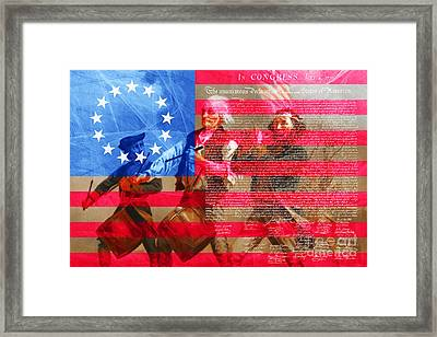 The Spirit Of 76 The American Flag And The Declaration Of Independence 20150704 Framed Print by Wingsdomain Art and Photography