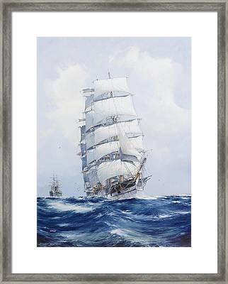 The Square-rigged Clipper Argonaut Under Full Sail Framed Print by Mountain Dreams
