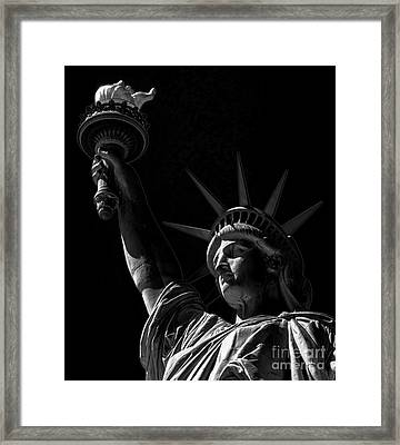 The Statue Of Liberty - Bw Framed Print by James Aiken