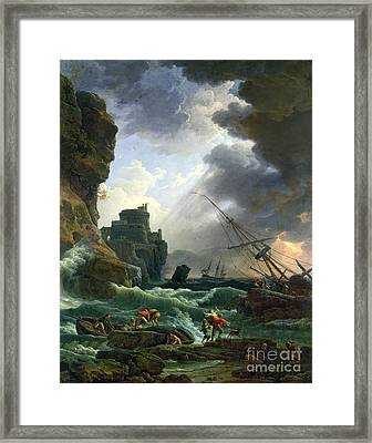 The Storm Framed Print by Claude Joseph Vernet